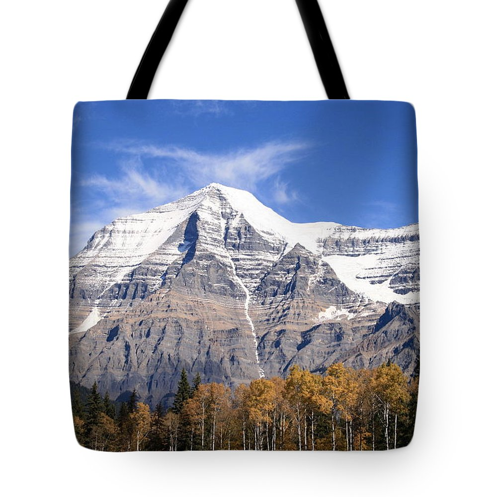 Rocky Mountain Tote Bag featuring the photograph Mt. Robson- Canada's Tallest Peak by Tiffany Vest