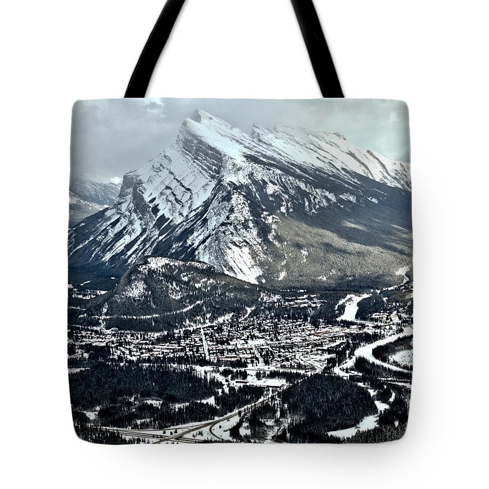 Rundle Tote Bag featuring the photograph Mt Rundle Aerial View by Adam Jewell