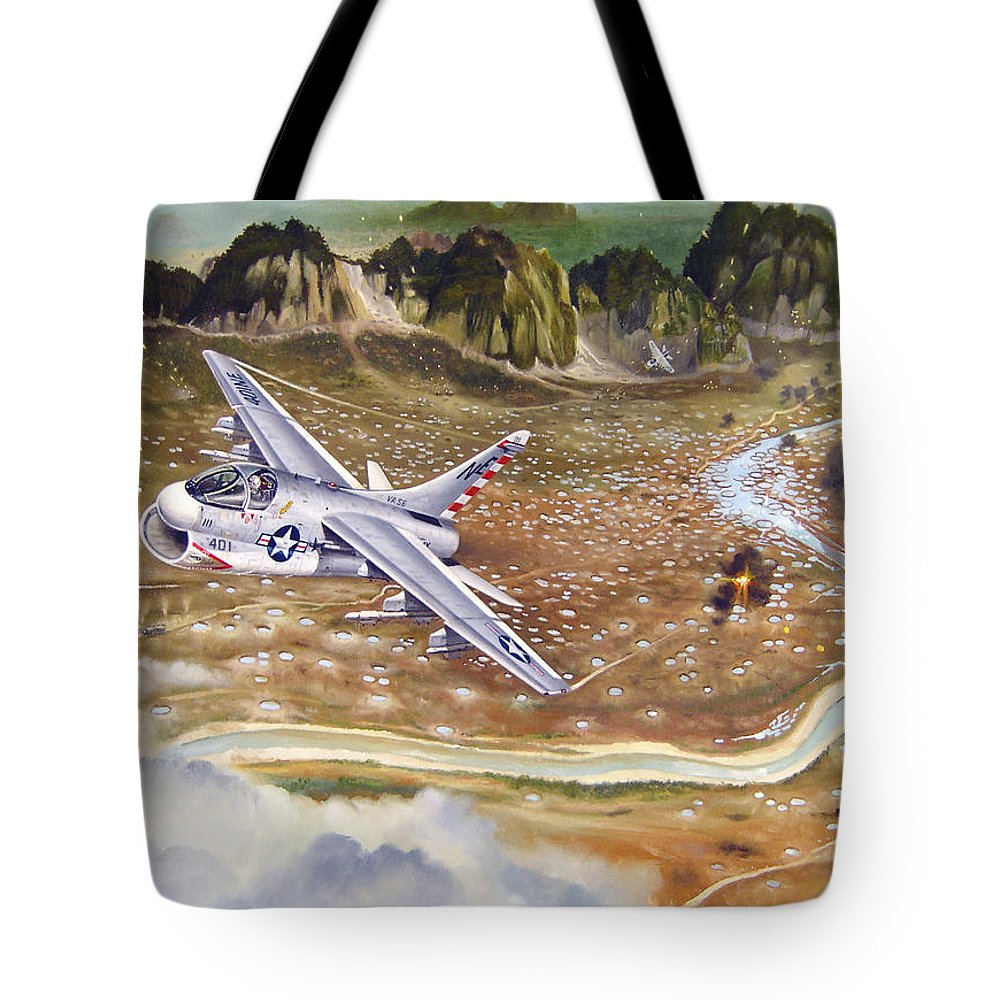 Aviation Tote Bag featuring the painting Mu Gia Mayhem by Marc Stewart