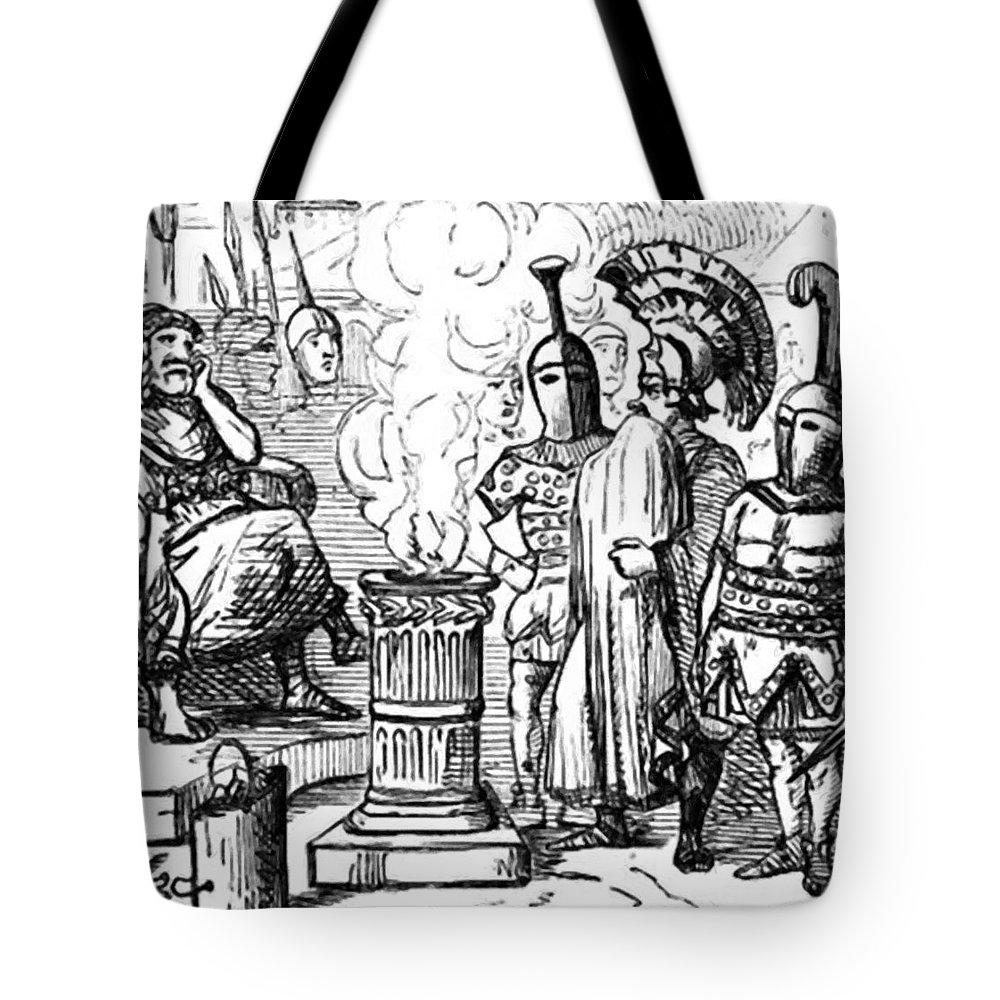 Mucius Tote Bag featuring the painting Mucius Sc Vola Before Porsenna by Leech John