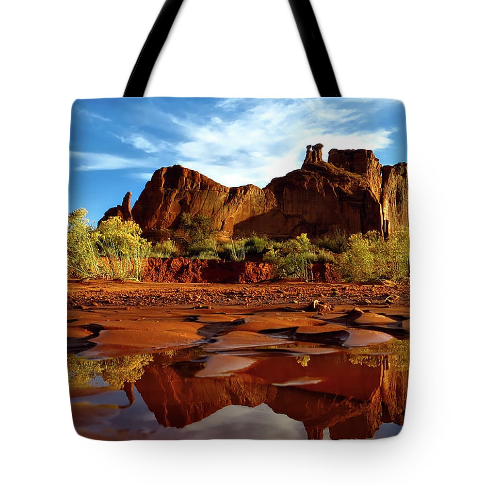 Arches National Park Tote Bag featuring the photograph Muddy Reflection by Mountain Dreams