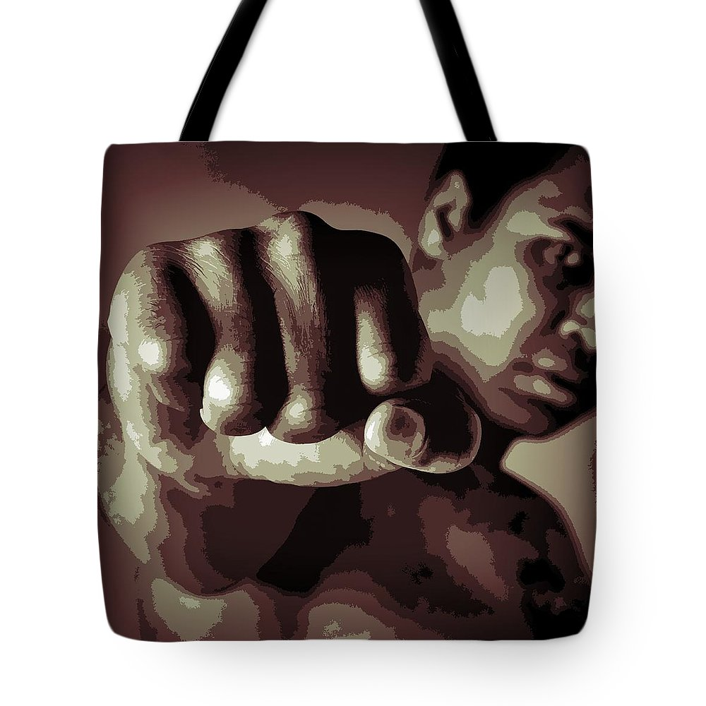 Muhammad Ali Fist Poster Tote Bag featuring the digital art Muhammad Ali Fist Poster by Dan Sproul