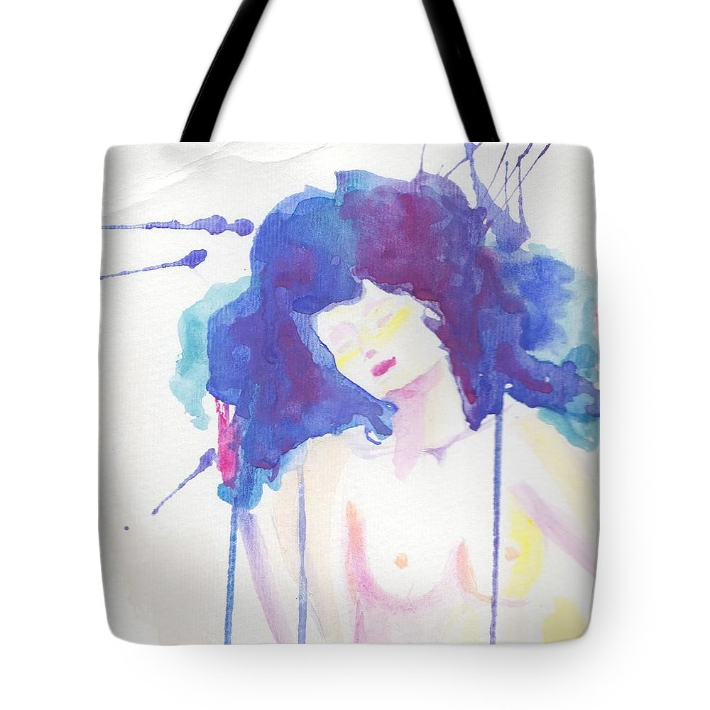 Abstract Watercolor Woman Portrait Tote Bag featuring the painting Mujer En Acuarela by Ivonne Sequera