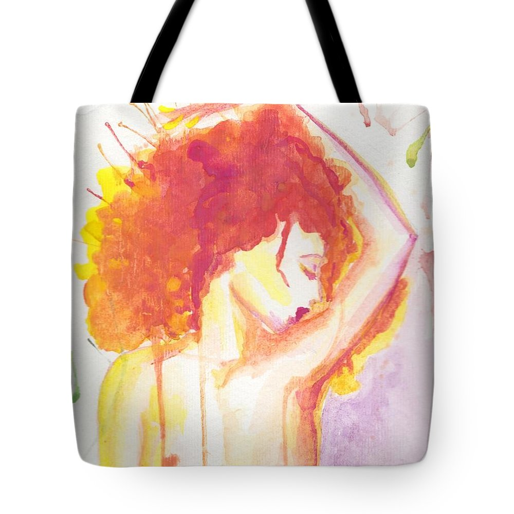 Abstract Watercolor Woman Portrait Tote Bag featuring the painting Mujer En Acuarela Orange by Ivonne Sequera
