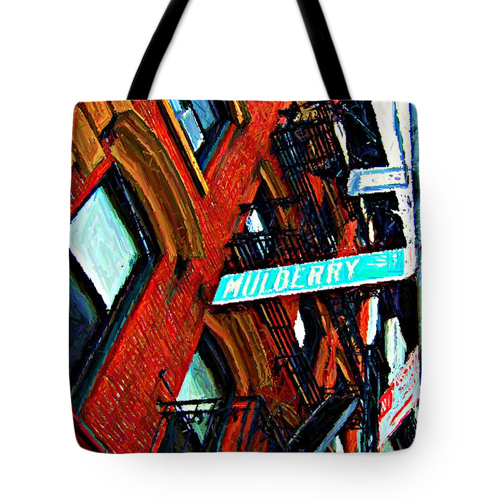 Little Italy Tote Bag featuring the digital art Mulberry Street Sketch by Randy Aveille