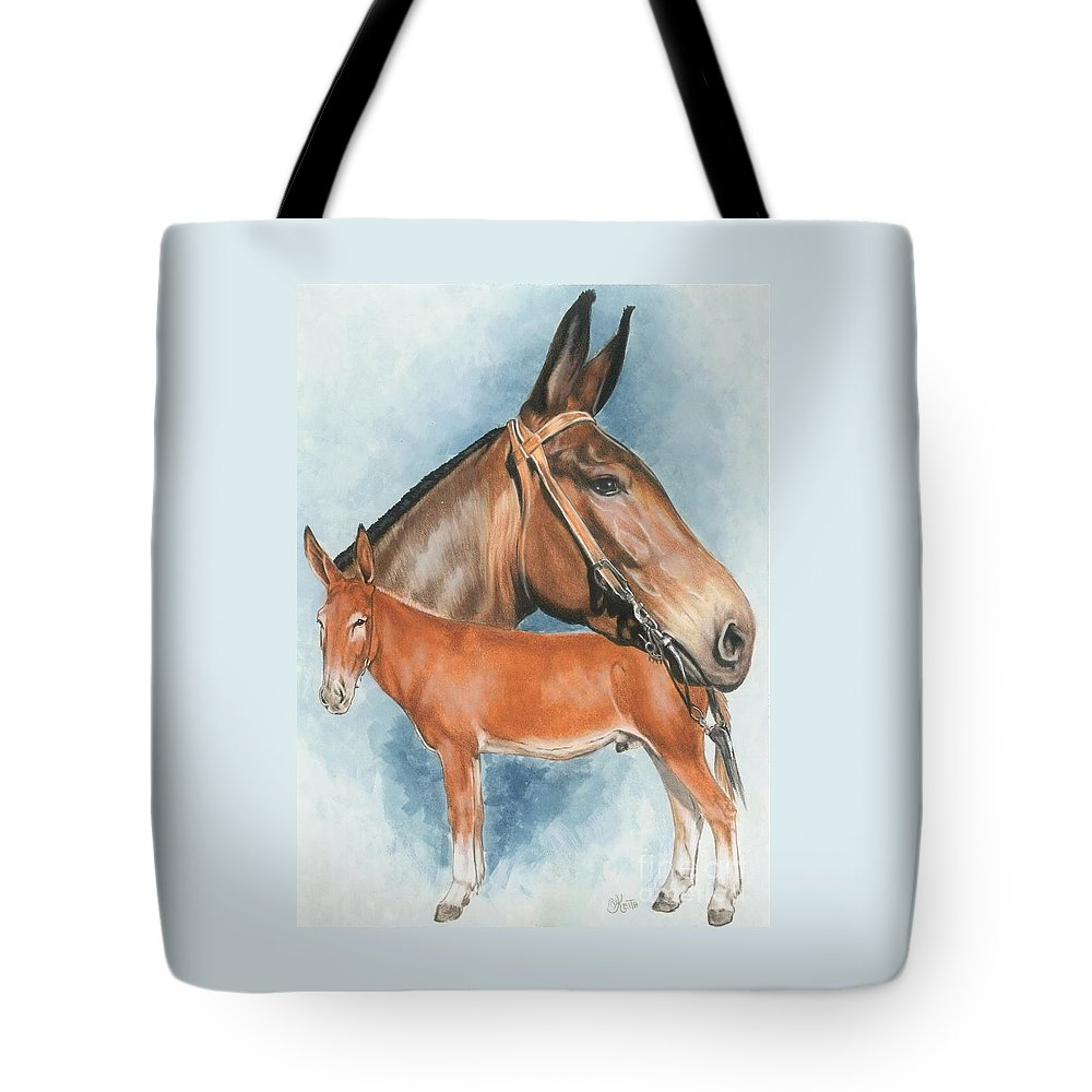 Mule Tote Bag featuring the mixed media Mule by Barbara Keith