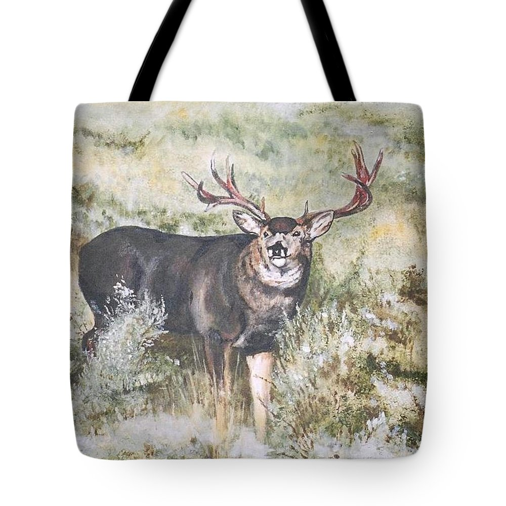 Mule Deer Tote Bag featuring the painting Muley by Debra Sandstrom