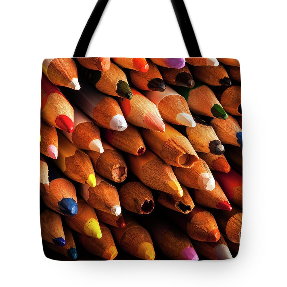 Abstract Tote Bag featuring the photograph Multicolored Pencils by Jim Corwin