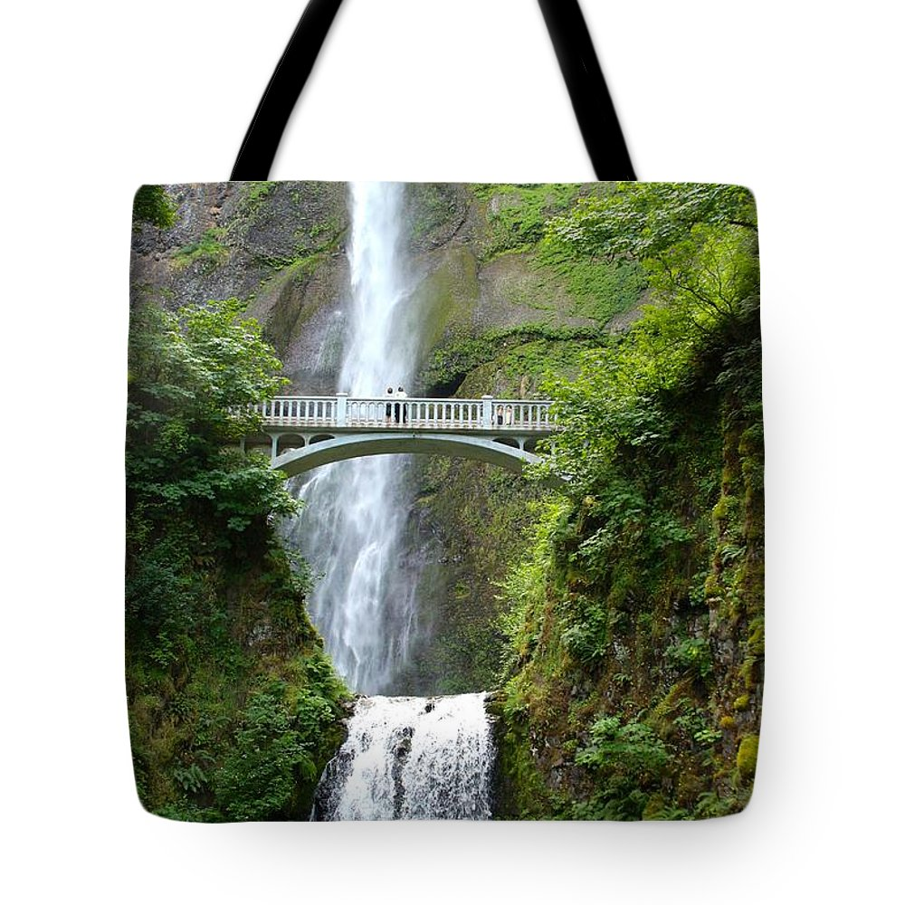 Waterfall Tote Bag featuring the photograph Multnomah Falls by Cordelia Ford