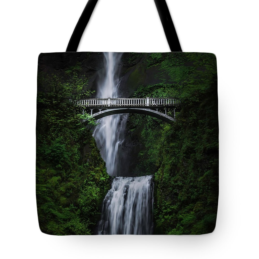 Columbia River Gorge Tote Bag featuring the photograph Multnomah Falls by Larry Marshall
