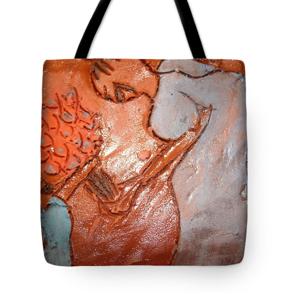 Jesus Tote Bag featuring the ceramic art Mum 2 - Tile by Gloria Ssali