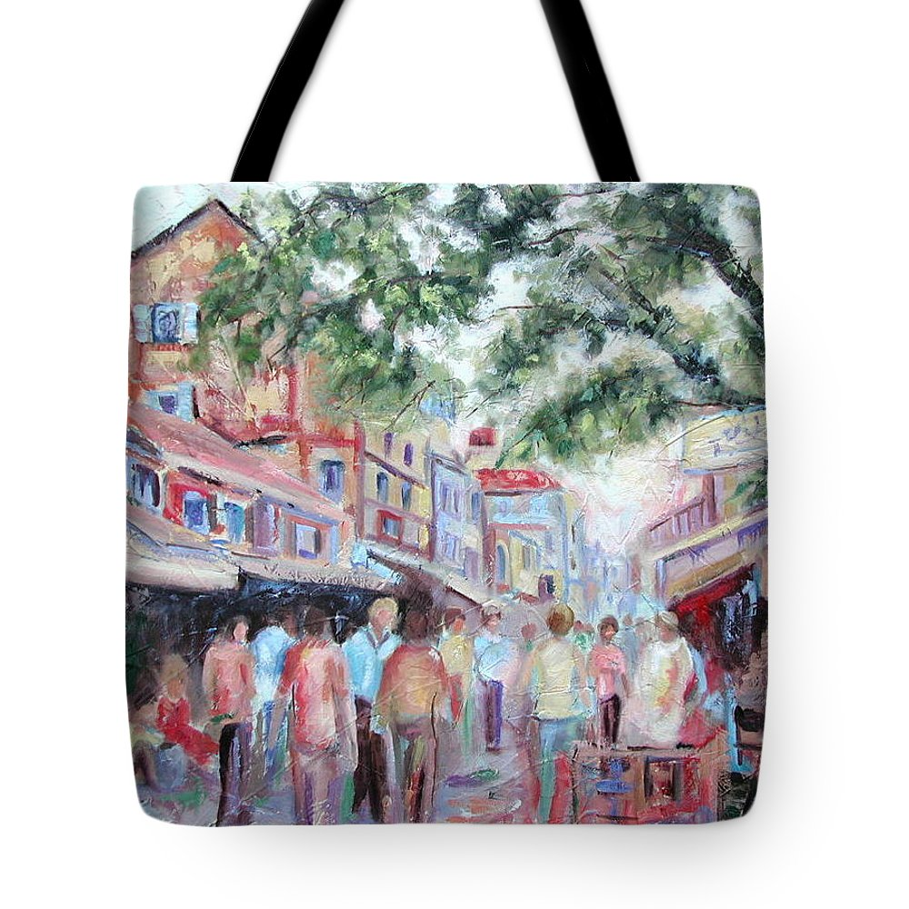 Bombay Markets Tote Bag featuring the painting Mumbai Market by Ginger Concepcion
