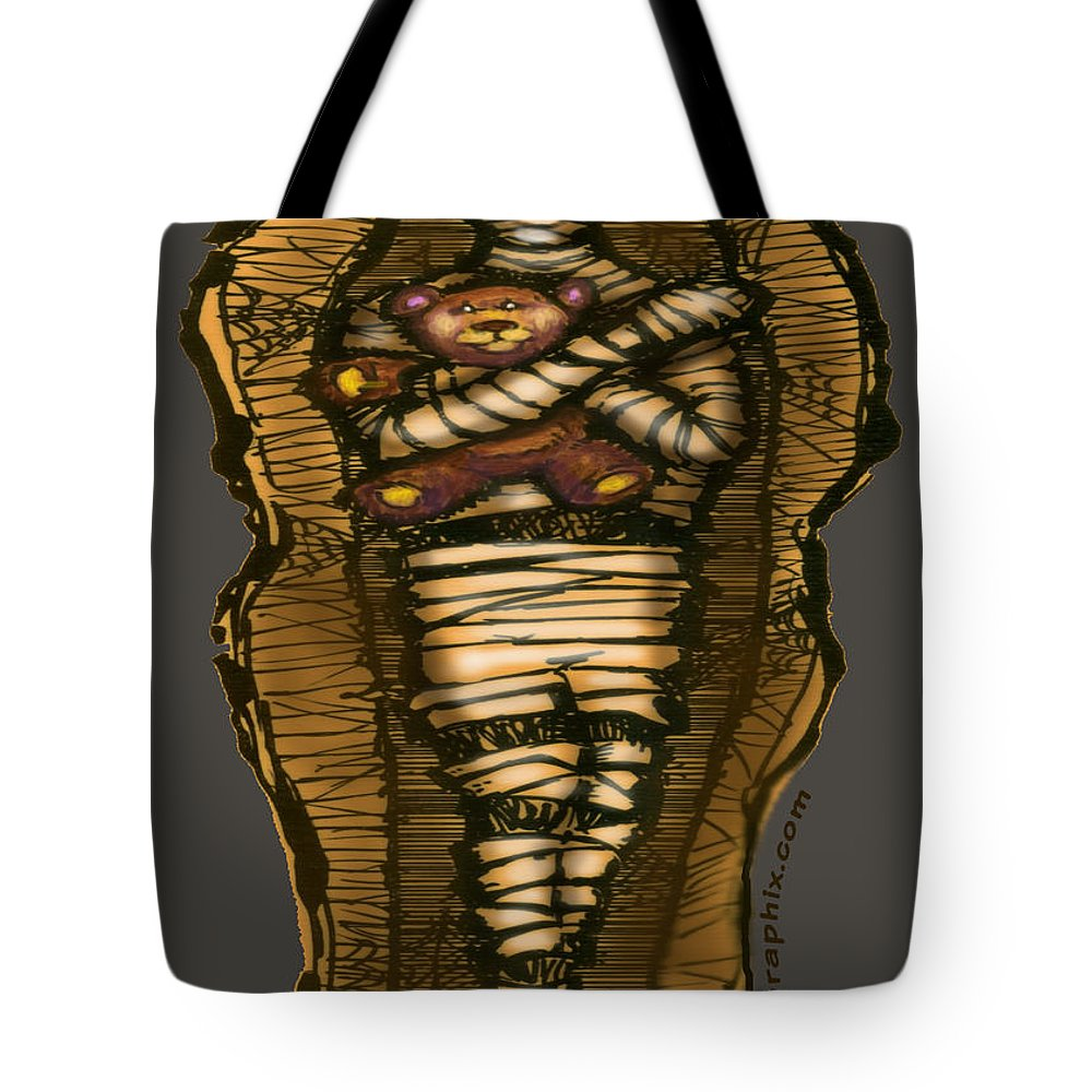 Halloween Tote Bag featuring the greeting card Mummy And Teddy by Kevin Middleton