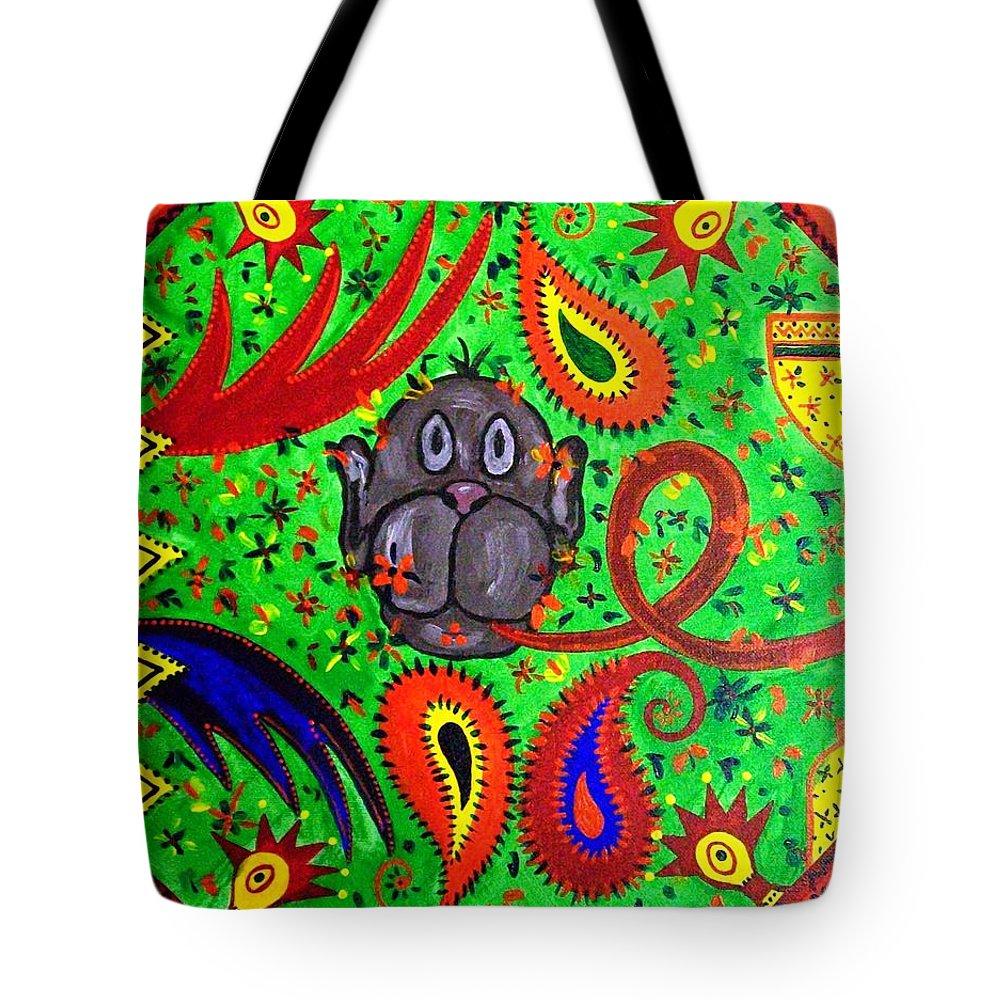 Fantasy Folk Art Tote Bag featuring the painting Mun Moji-hookah Monkey by Fareeha Khawaja