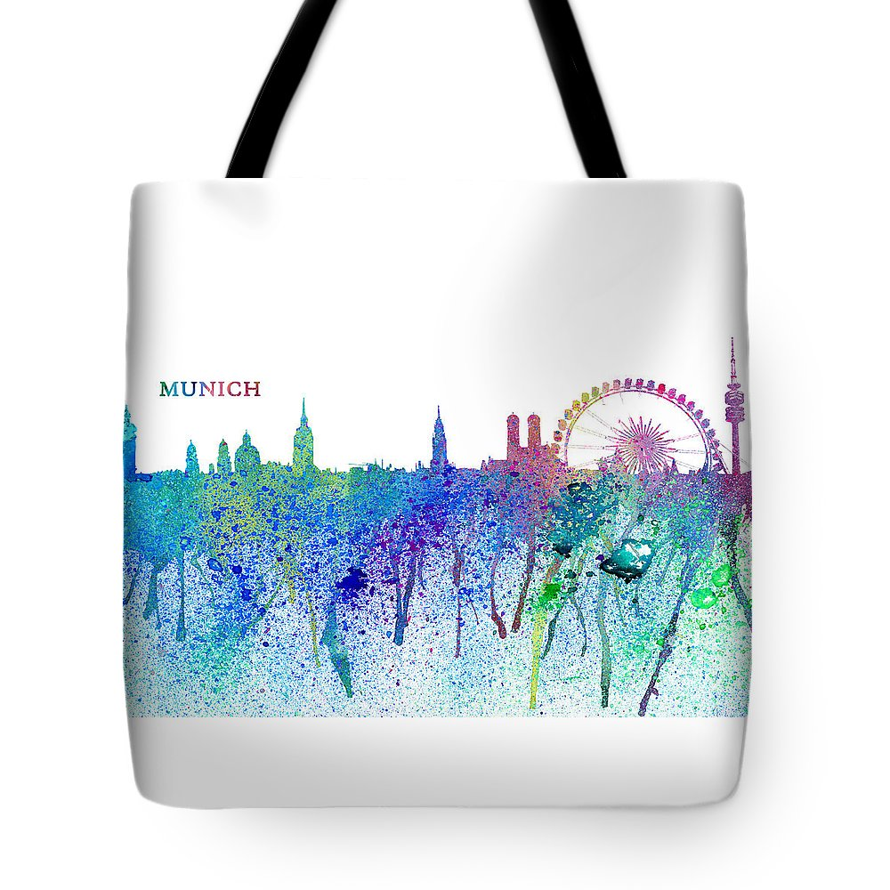 Munich Travel Poster Tote Bag featuring the mixed media Munich Skyline Silhouette An Impressionistic Splash - Dream Cities Series by M Bleichner