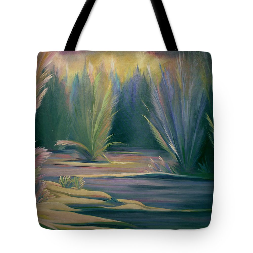 Feathers Tote Bag featuring the painting Mural Field Of Feathers by Nancy Griswold