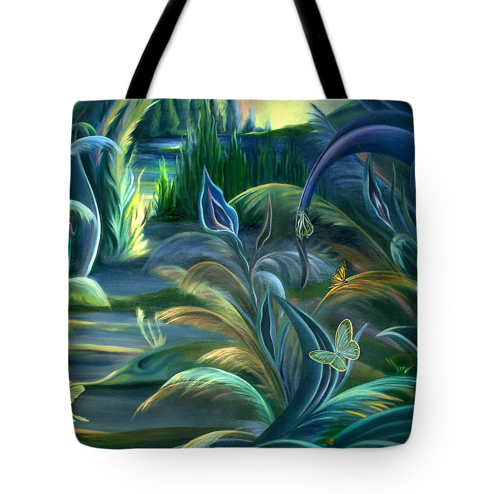Mural Tote Bag featuring the painting Mural Insects Of Enchanted Stream by Nancy Griswold