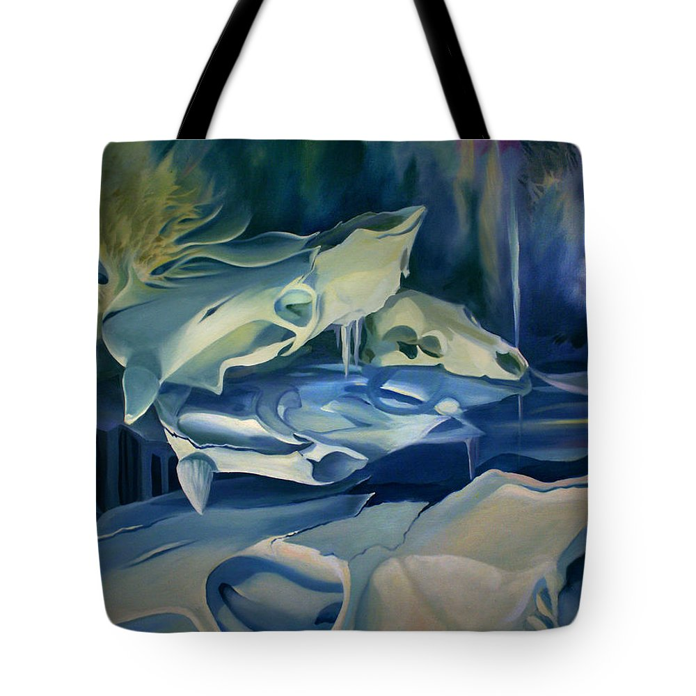Surreal Tote Bag featuring the painting Mural Skulls Of Lifes Past by Nancy Griswold