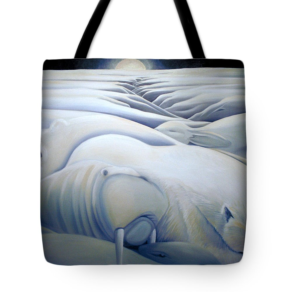 Mural Tote Bag featuring the painting Mural Winters Embracing Crevice by Nancy Griswold