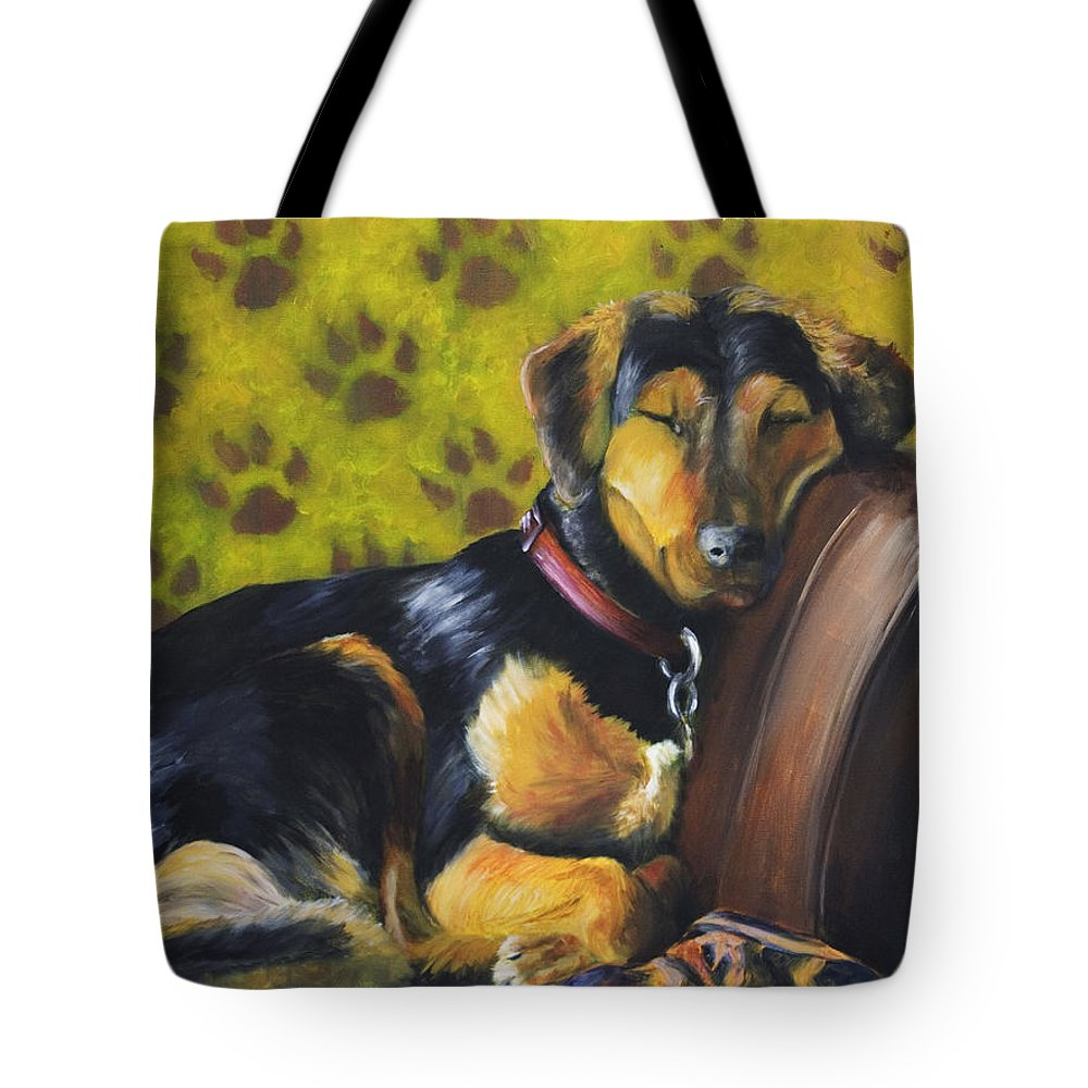 Dog Tote Bag featuring the painting Murphy Vi Sleeping by Nik Helbig