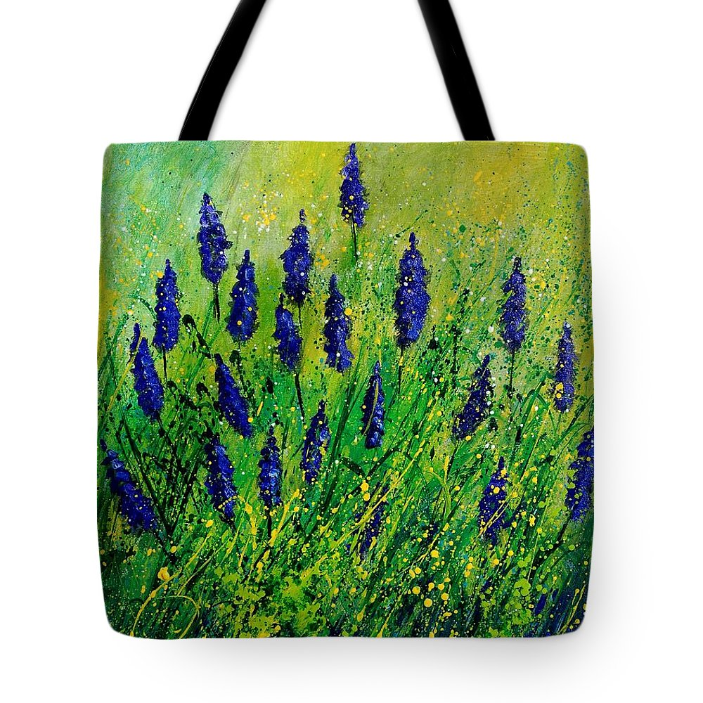 Flowers Tote Bag featuring the painting Muscaris 4590 by Pol Ledent