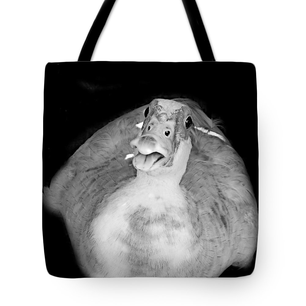 Duck Tote Bag featuring the photograph Muscovy Duck Black And White by Fern Cardinal