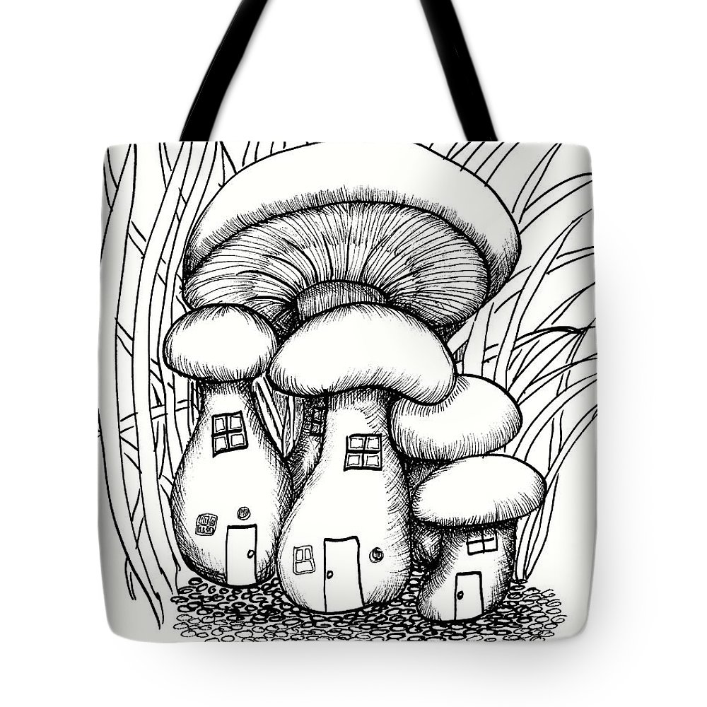 Mushroom Fairy Houses And Grass Tote Bag