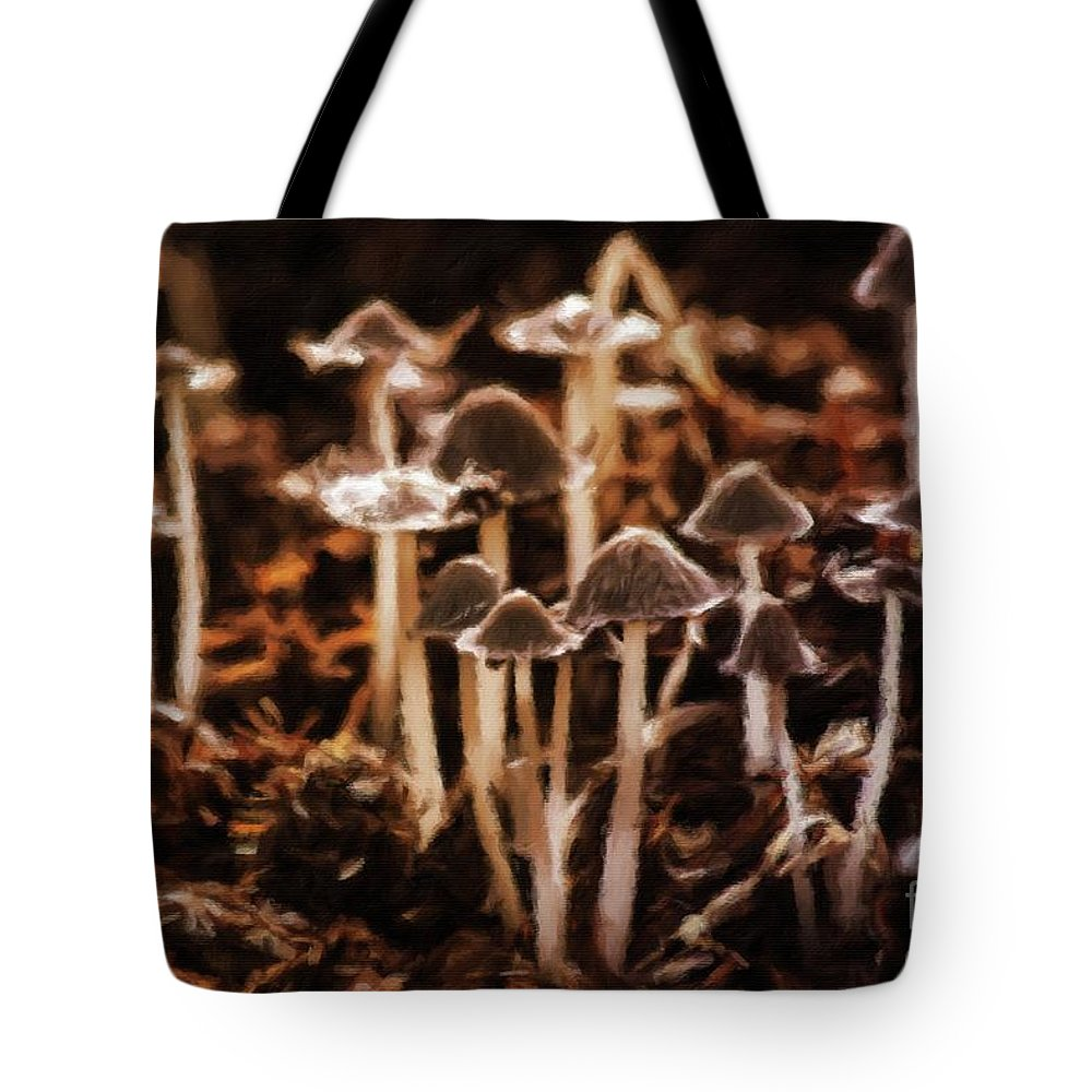 Landscape Tote Bag featuring the painting Mushroom Friends by Sarah Kirk