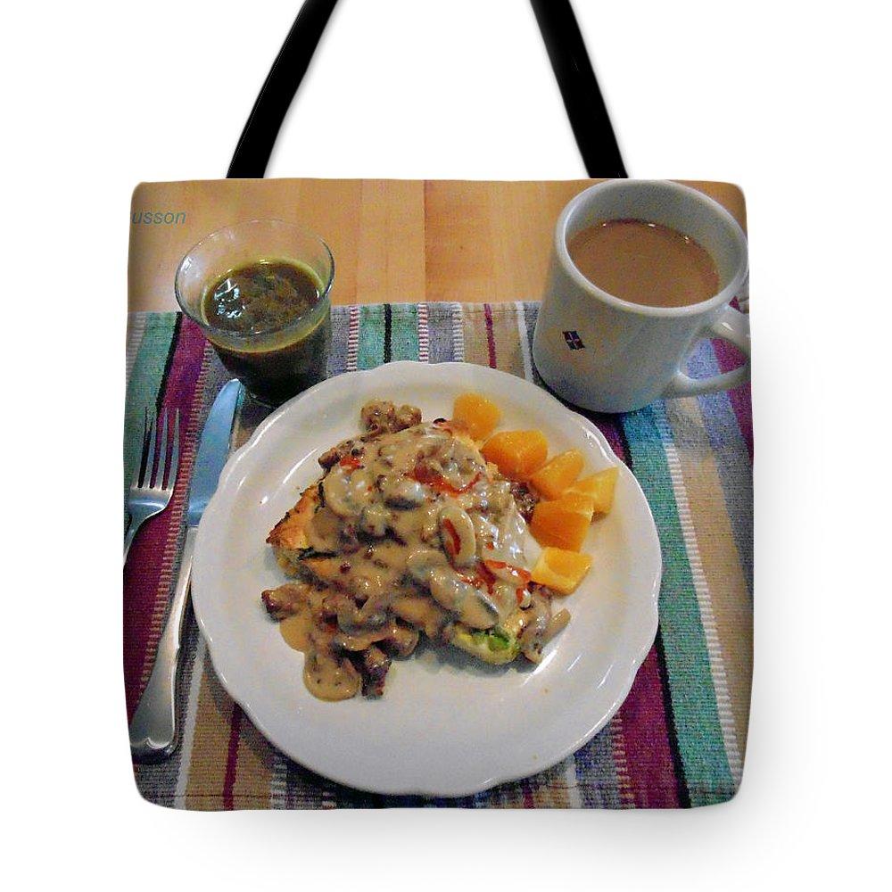 Elegant Breakfast Tote Bag featuring the digital art Mushroom Gravy Over Breakfast Quiche by Jana Russon