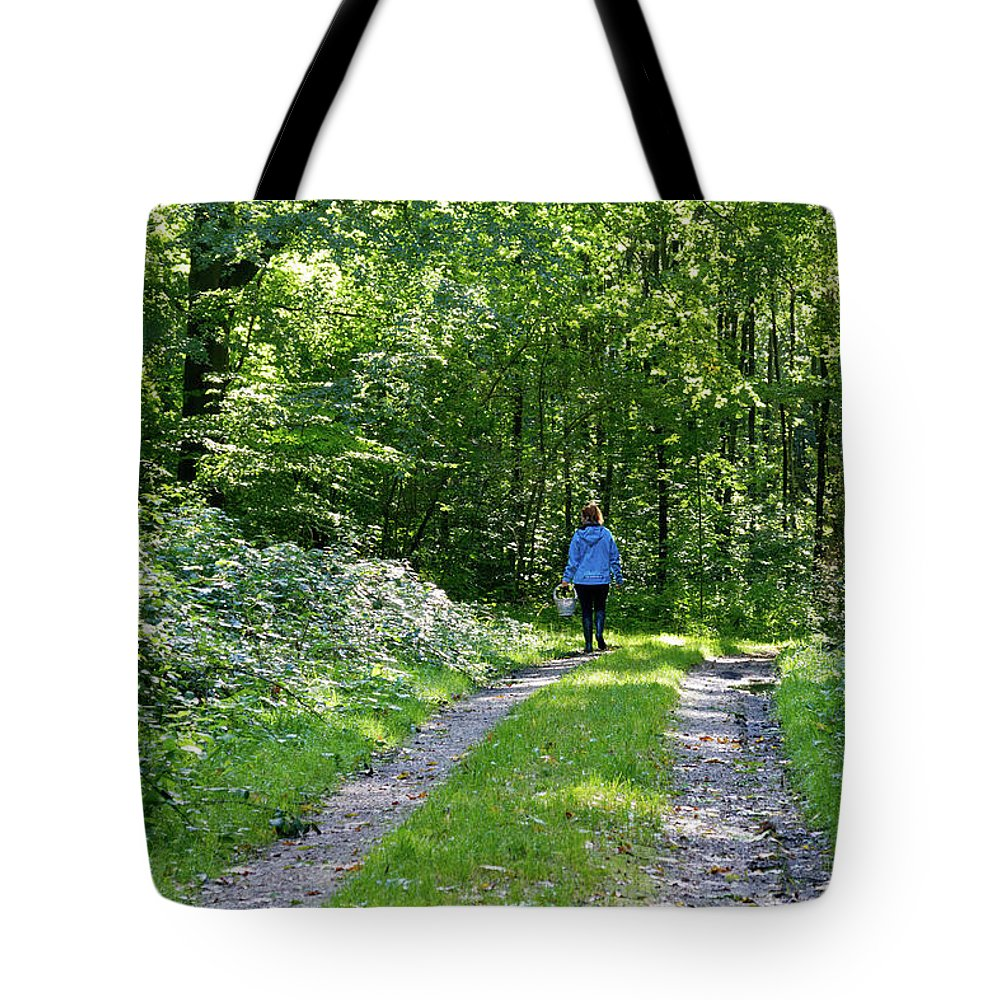 Young Tote Bag featuring the photograph Mushroom Hunting by Bernard Barcos