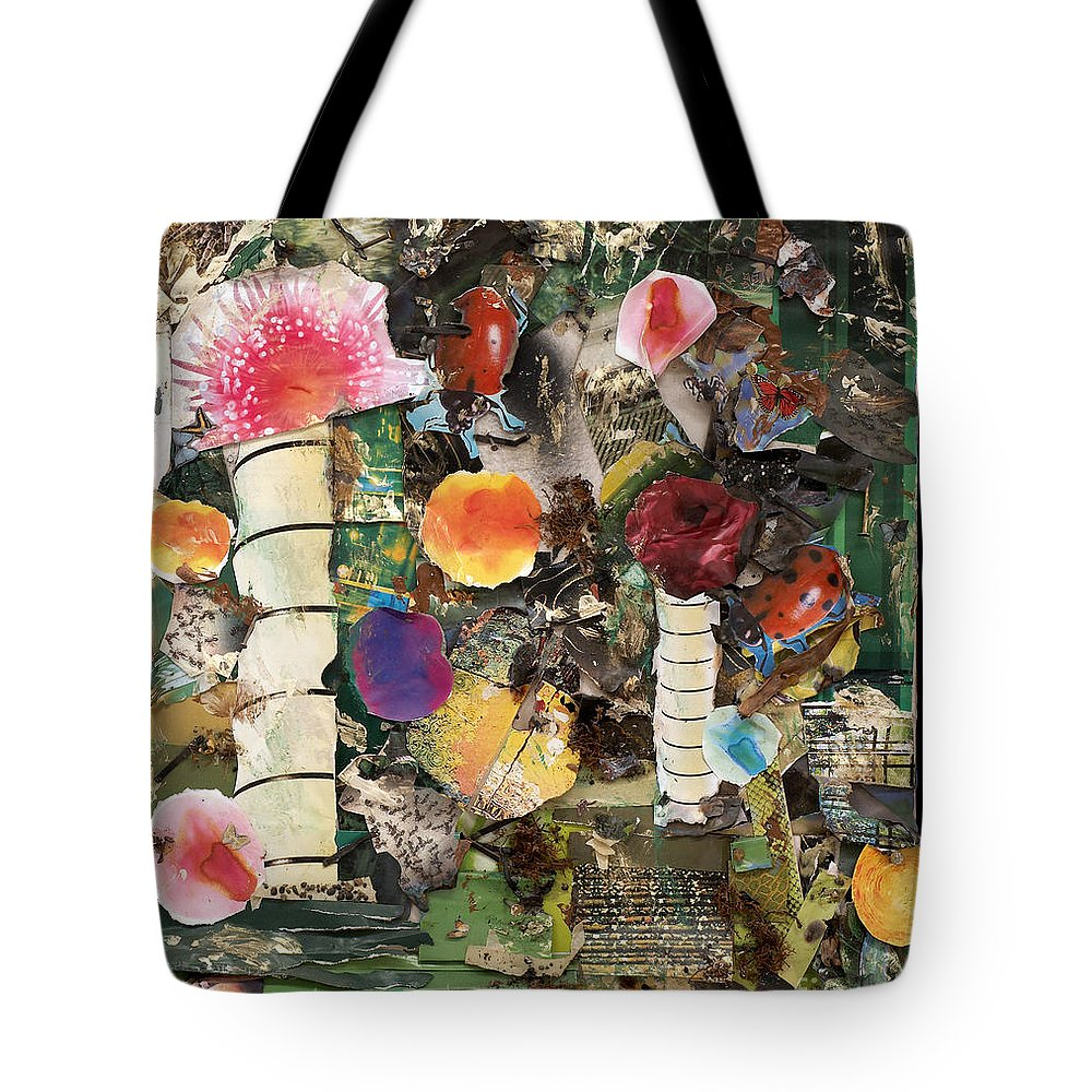Abstract Tote Bag featuring the mixed media Mushroom by Jaime Becker