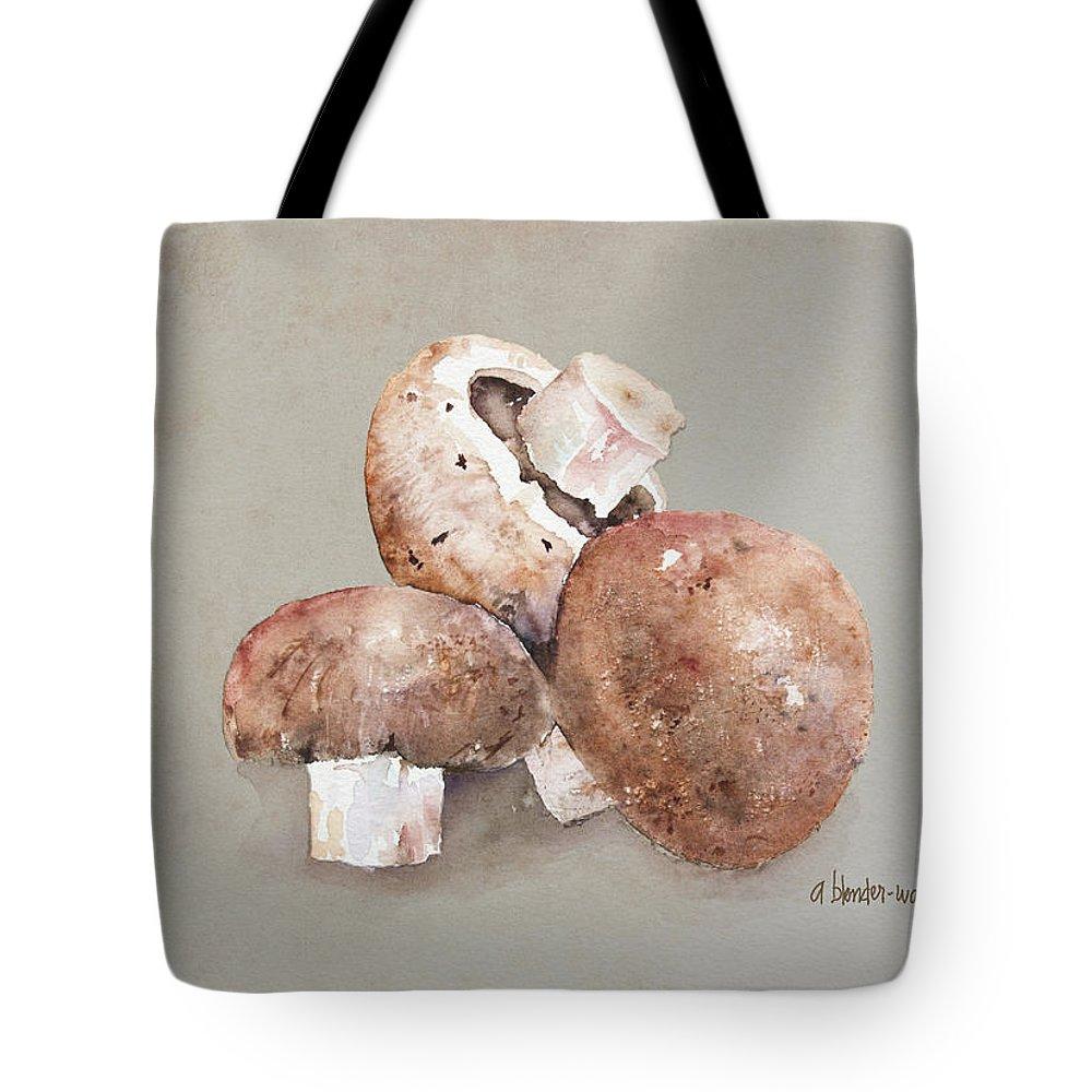 Mushroom Tote Bag featuring the painting Mushrooms by Arline Wagner