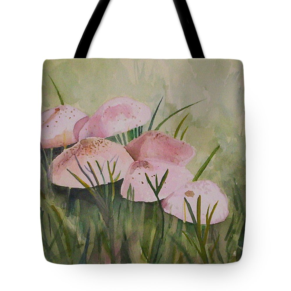 Landscape Tote Bag featuring the painting Mushrooms by Suzanne Udell Levinger
