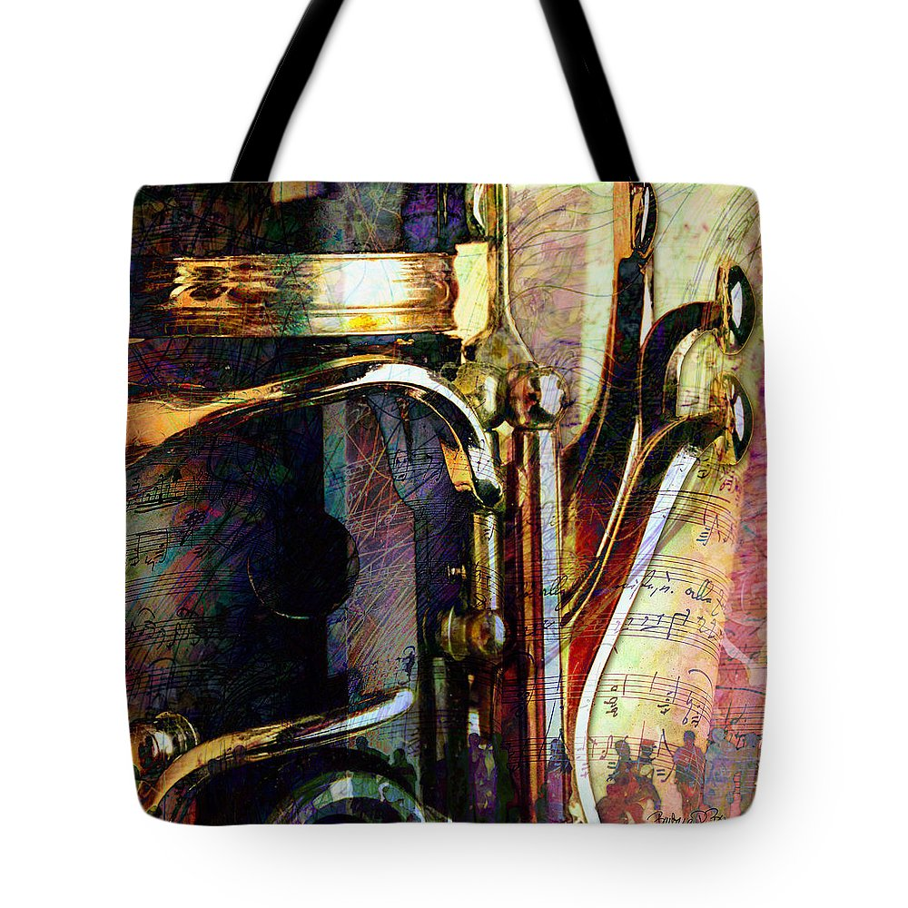 Clarinet Tote Bag featuring the digital art Music by Barbara Berney