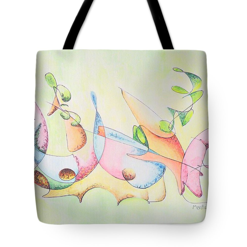 Watercolor Tote Bag featuring the drawing Music by Dave Martsolf