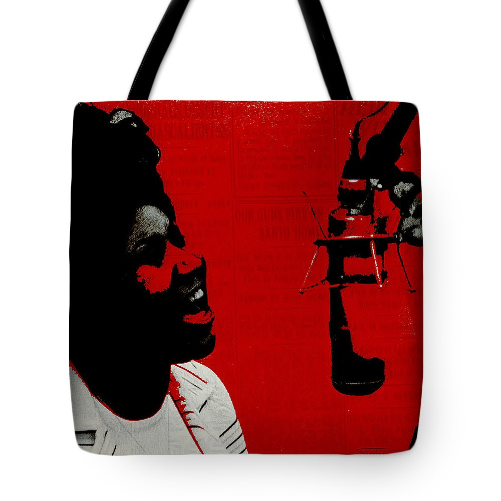 Aretha Franklin Tote Bag featuring the painting Music Icons - Aretha Franklin Ill by Joost Hogervorst