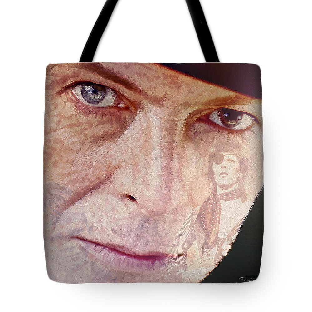 David Bowie Tote Bag featuring the painting Music Icons - David Bowie Vll by Joost Hogervorst