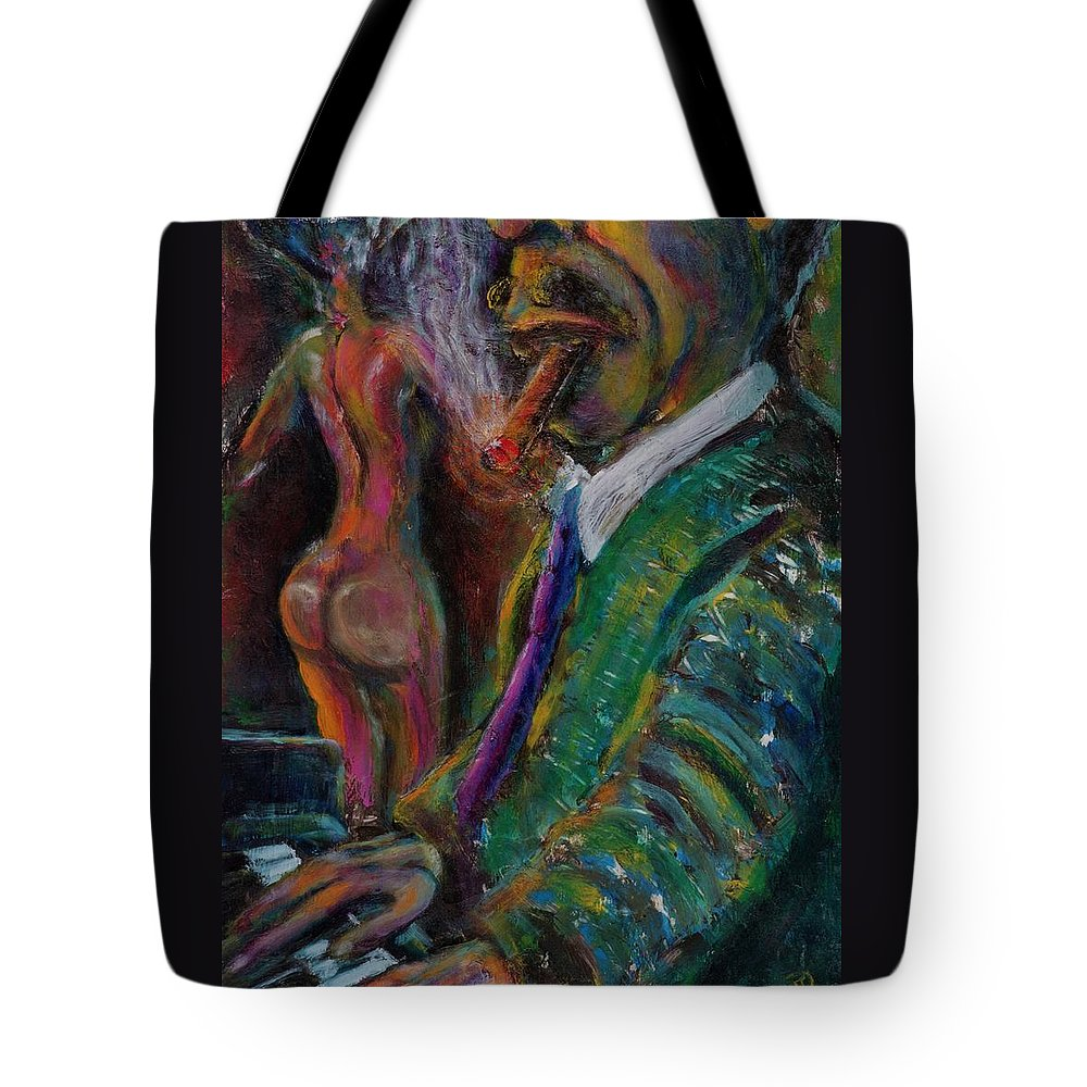 Man Tote Bag featuring the painting Music Lover And A Fine Cigar by Dennis Tawes