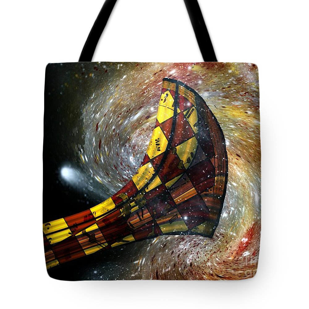 Horn Tote Bag featuring the painting Music Of The Cosmos by RC DeWinter