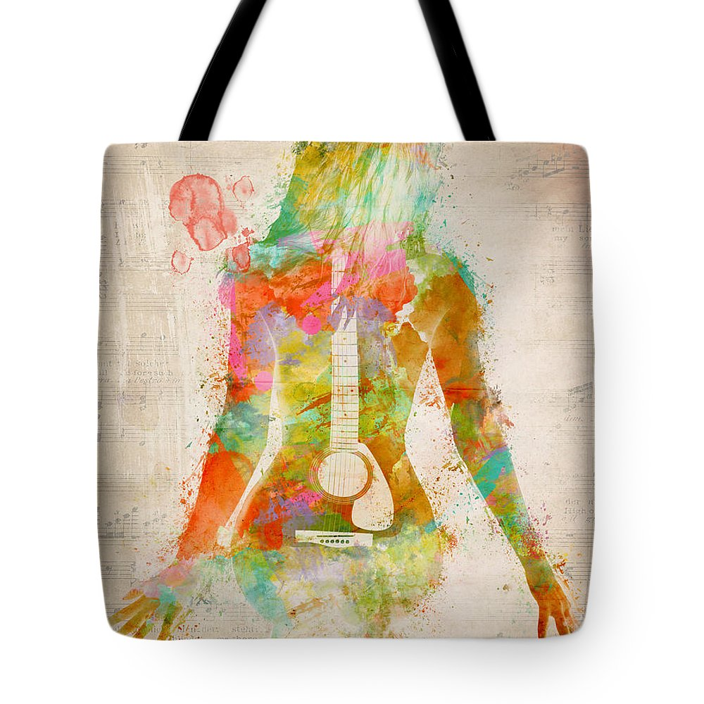 Guitar Tote Bag featuring the digital art Music Was My First Love by Nikki Marie Smith