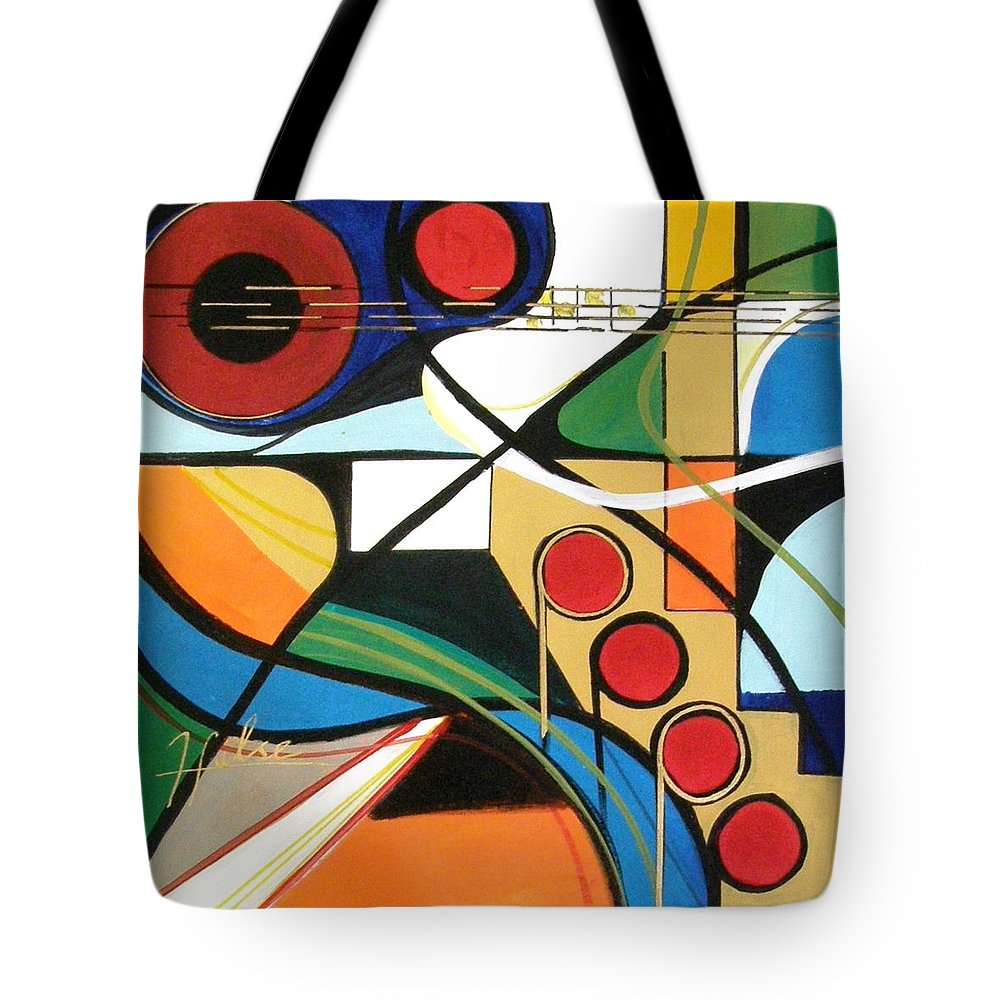 Music Tote Bag featuring the painting Musical Abstract by Gina Hulse