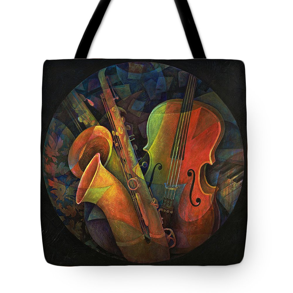 Susanne Clark Tote Bag featuring the painting Musical Mandala - Features Cello And Sax's by Susanne Clark
