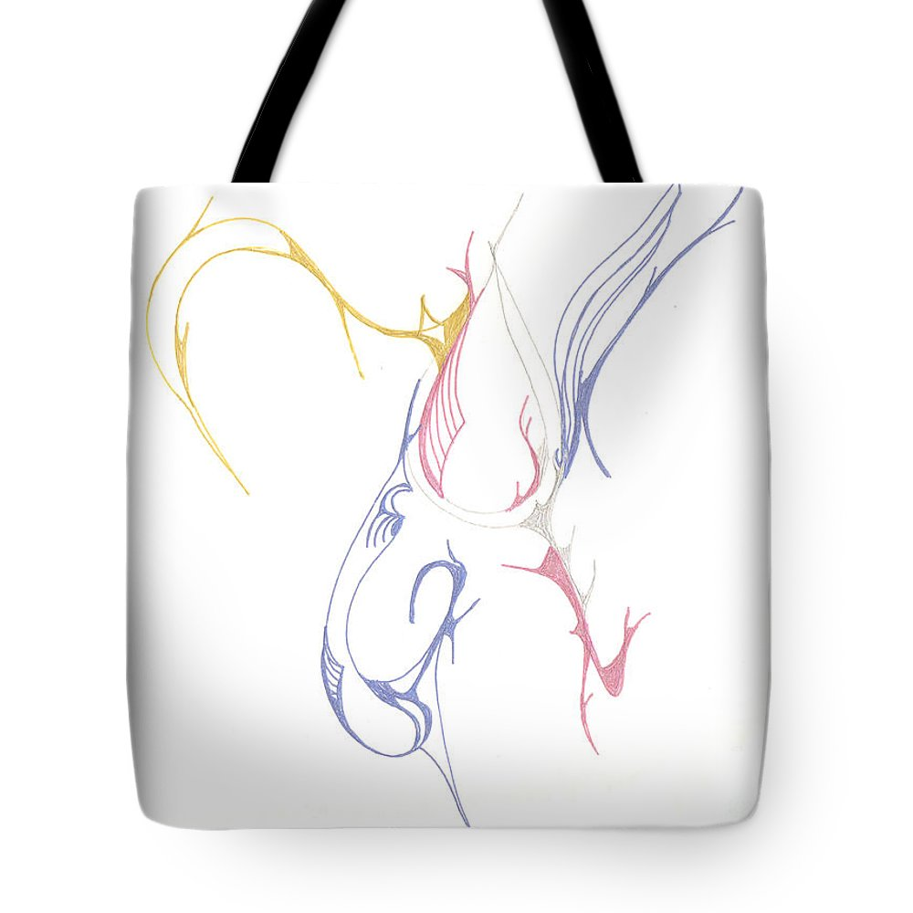 Flow Tote Bag featuring the drawing Musical Scribblings by Mary Mikawoz