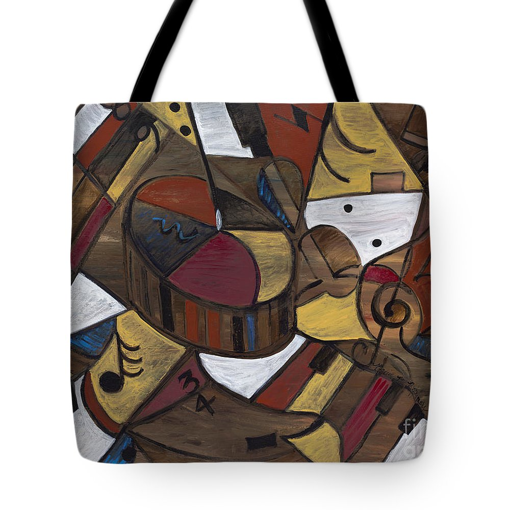 Brown Tote Bag featuring the painting Musicality In Brown by Nadine Rippelmeyer