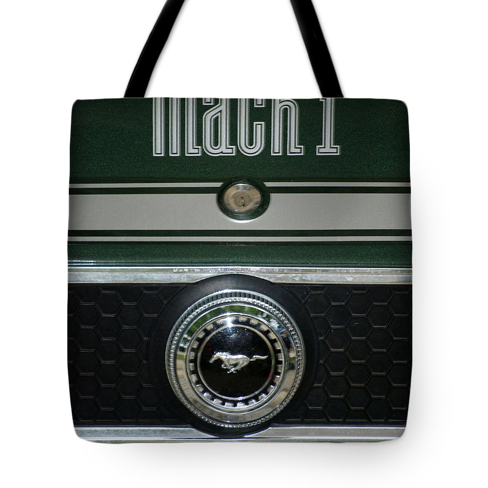 Transportation Tote Bag featuring the photograph Mustang Mach 1 Emblem by Thomas Woolworth
