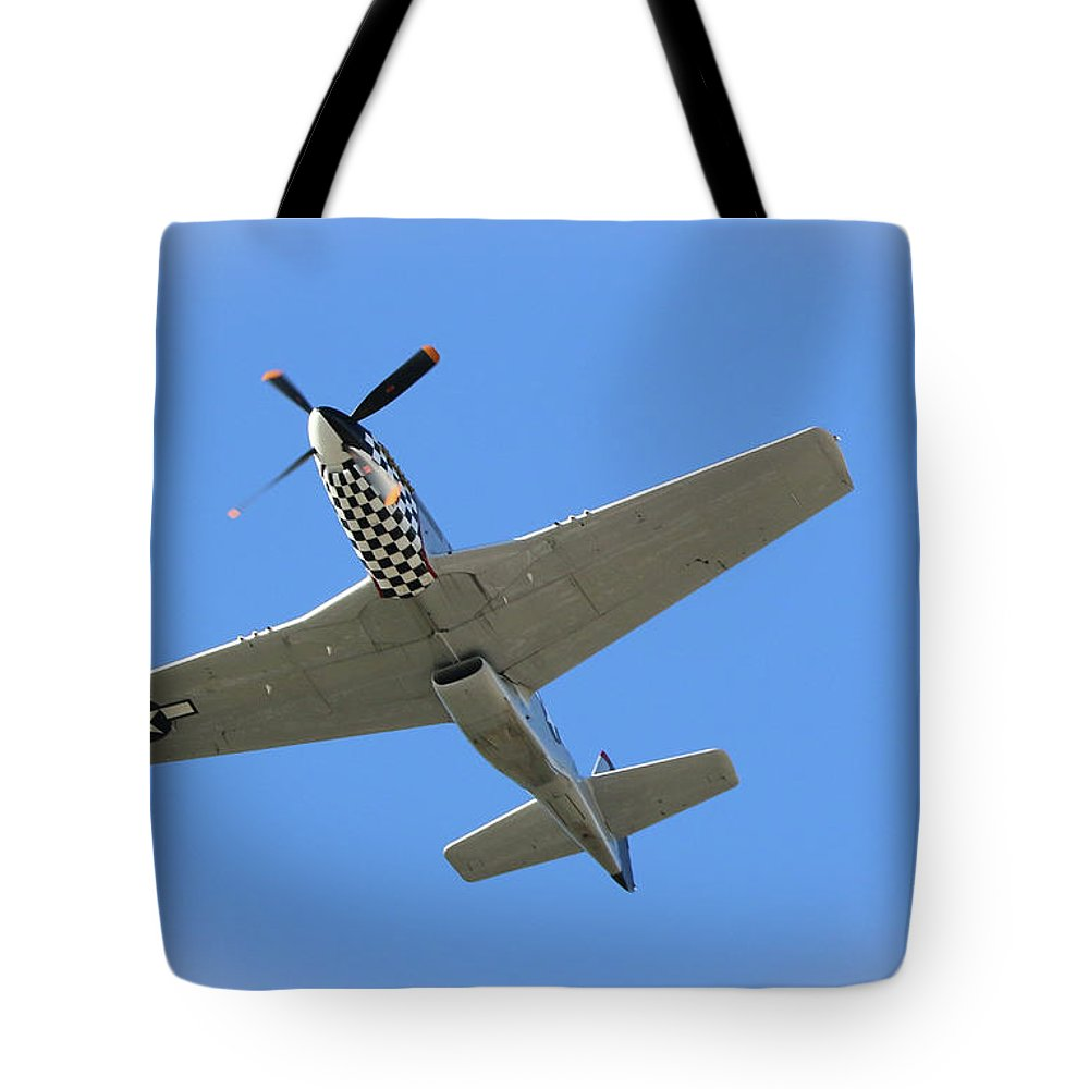 Mustang Tote Bag featuring the photograph Mustang Overhead by Tom Claud