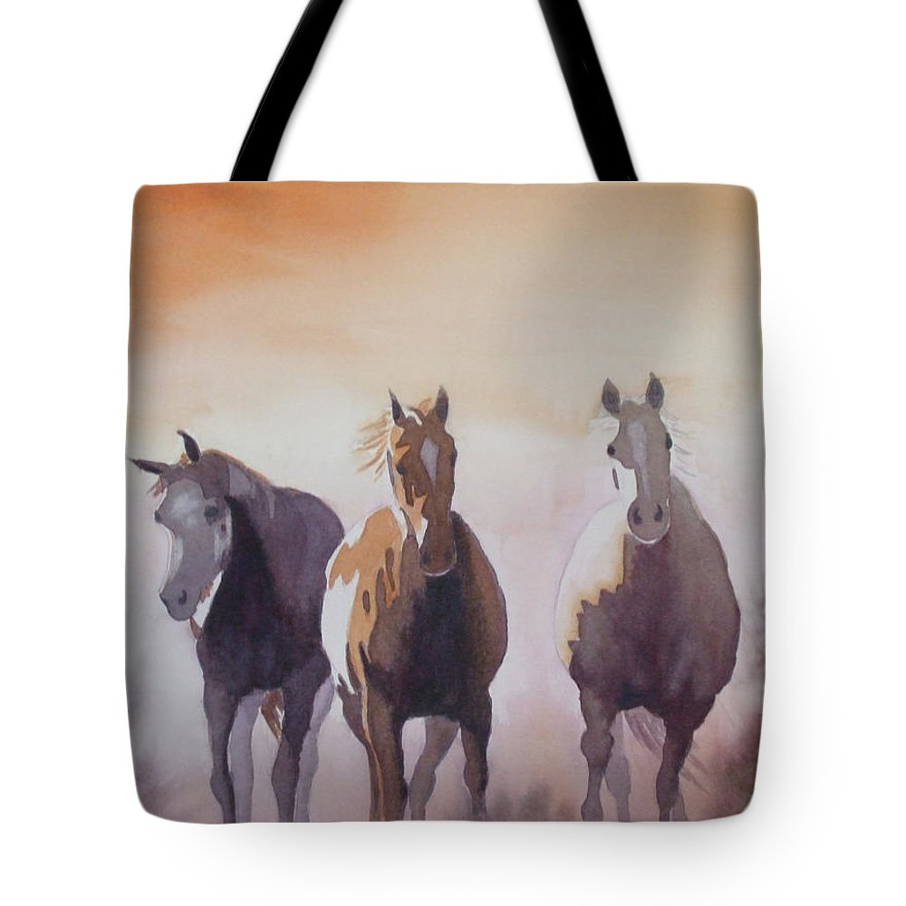 Horse Tote Bag featuring the painting Mustangs Out Of The Fire by Ally Benbrook