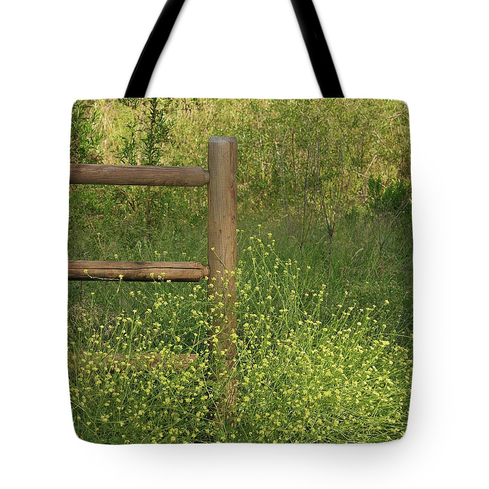Linda Brody Tote Bag featuring the photograph Mustard Grass And Fence At Entrance To Peters Canyon by Linda Brody