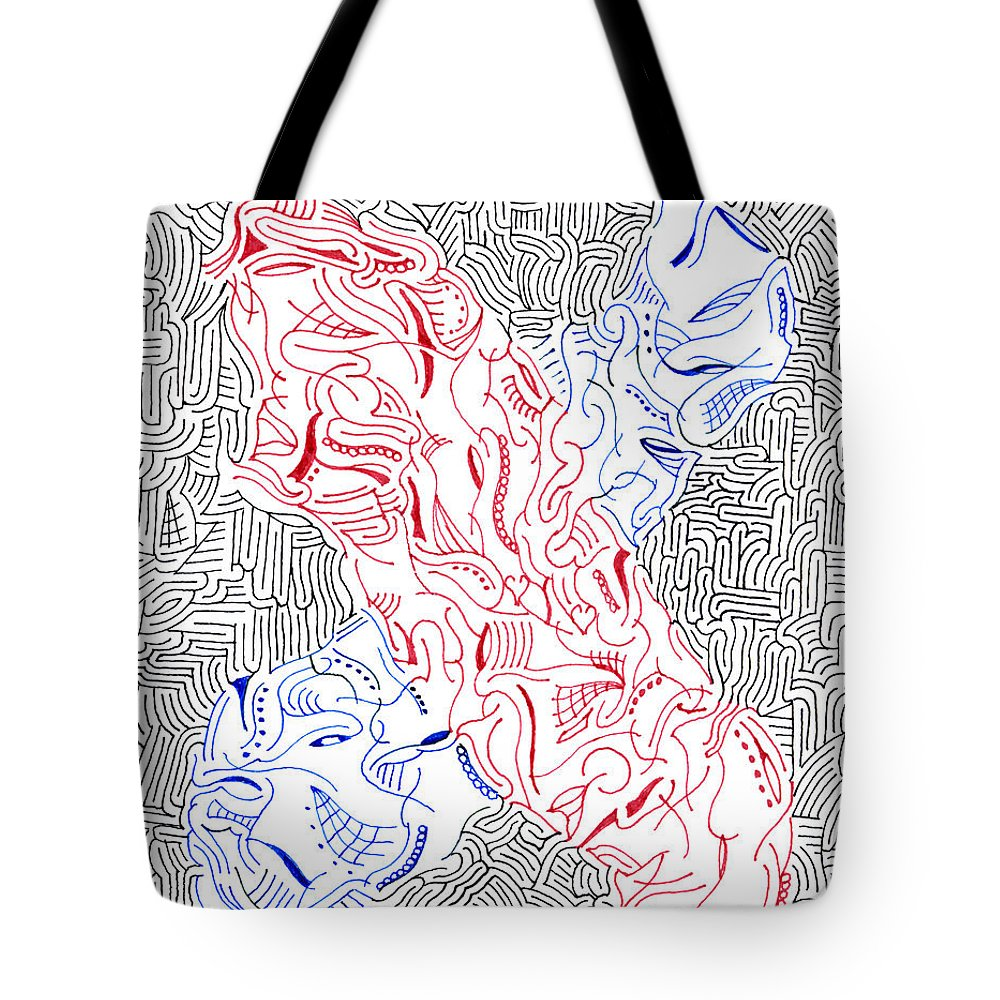 Mazes Tote Bag featuring the drawing Mutation by Steven Natanson