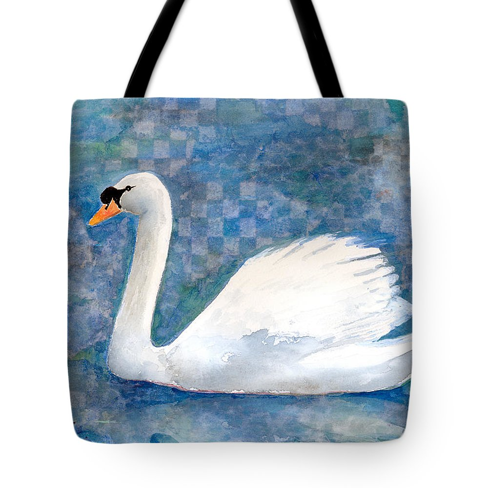 Swan Tote Bag featuring the mixed media Mute Swan by Arline Wagner